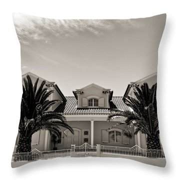 Spanish Village With Palm Trees Throw Pillow
