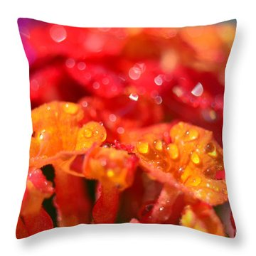Sparkling Jeweltone Floral II Throw Pillow by Debbie Portwood