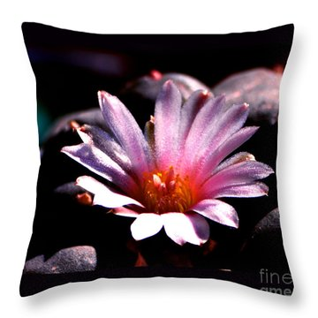 Sparkling Peyote Flower Throw Pillow by Susanne Still