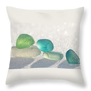 Sparkling Sea Glass Friends Throw Pillow