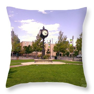 Throw Pillow featuring the photograph Sparks Community Clock by Bobbee Rickard