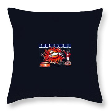 Throw Pillow featuring the painting Sparky The Dog Jumps Through The Fiery Hoop by Joyce Gebauer