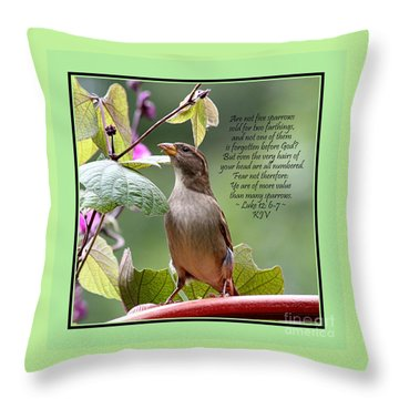 Sparrow Inspiration From The Book Of Luke Throw Pillow