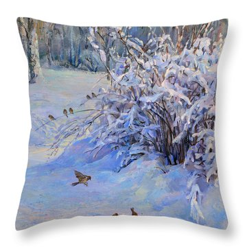 Sparrow On Snow Throw Pillow