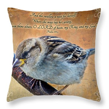 Sparrow With Verse Throw Pillow by Debbie Portwood