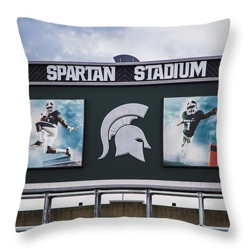Spartan Stadium Scoreboard  Throw Pillow
