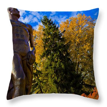 Sparty From Below In Autumn Throw Pillow