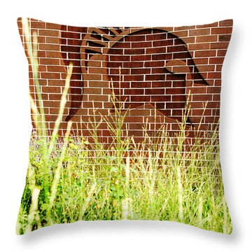 Sparty On The Wall Throw Pillow