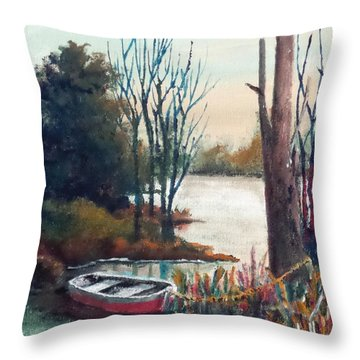 Throw Pillow featuring the painting Special Parking Spot by Jim Phillips