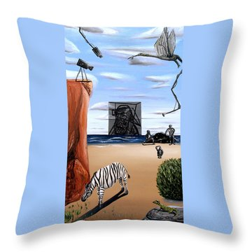 Throw Pillow featuring the painting Species Differentiation -darwinian Broadcast- by Ryan Demaree