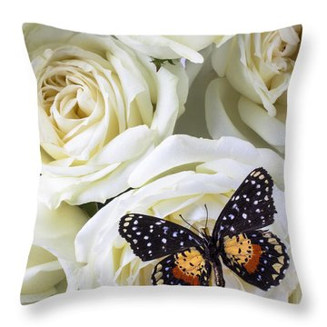 Speckled Butterfly On White Rose Throw Pillow