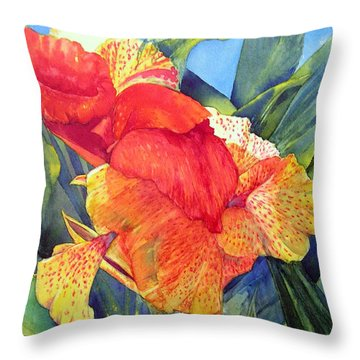 Speckled Canna Throw Pillow