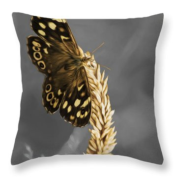 Speckled Wood Butterfly Throw Pillow