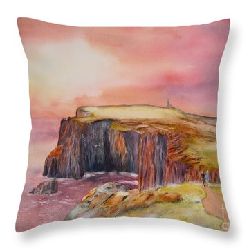 Throw Pillow featuring the painting Spectacular On The Isle Of May Scotland by Beatrice Cloake