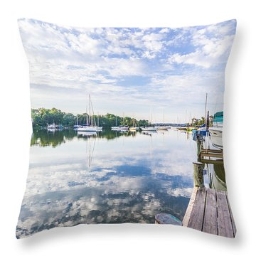 Speedboat On The Magothy River Throw Pillow