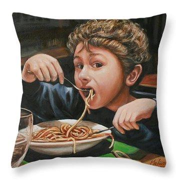 Spaghetti Boy Throw Pillow by Melinda Saminski
