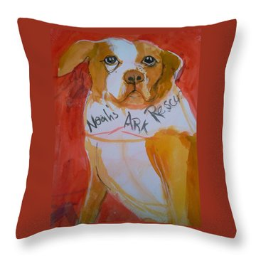 Throw Pillow featuring the painting Spencer The Pit Bull by Gertrude Palmer