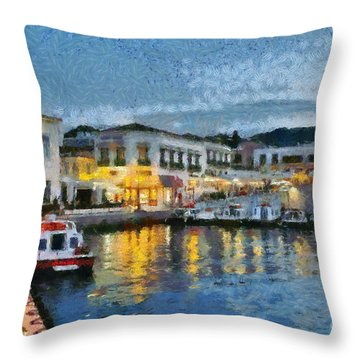 Spetses Town During Dusk Time Throw Pillow