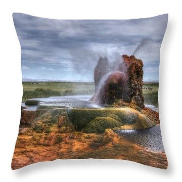 Spewing Minerals At Fly Geyser Throw Pillow