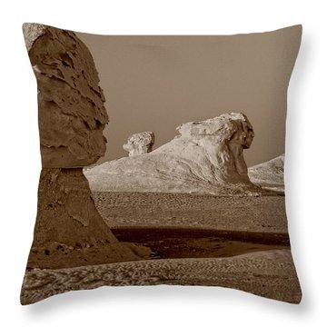 Throw Pillow featuring the photograph Sphinx In The Desert by Nigel Fletcher-Jones