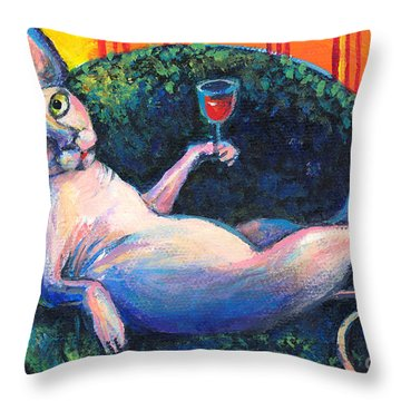 Sphynx Cat Relaxing Throw Pillow