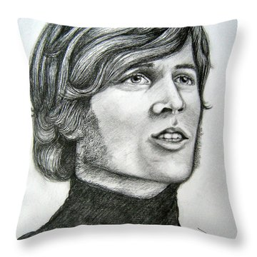 Throw Pillow featuring the drawing  A Young Barry Gibb by Patrice Torrillo