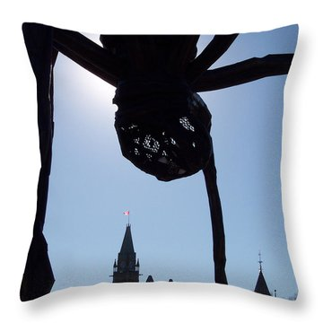 Spider Attacks Parliament Throw Pillow by First Star Art