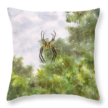Spider In Web #2 Throw Pillow