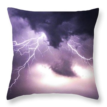 Spider Lightening Throw Pillow by Angela Wright