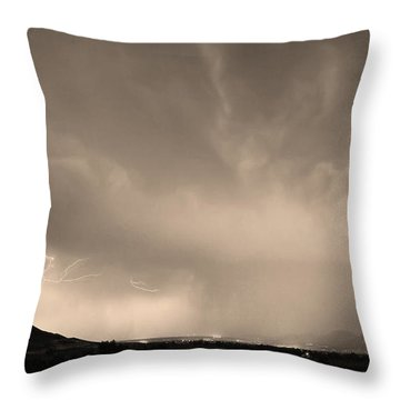 Spider Lightning Above Haystack Boulder Colorado Sepia Throw Pillow by James BO  Insogna