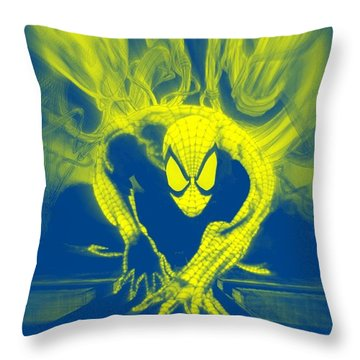 Spider-man Y B Blast Throw Pillow by Justin Moore