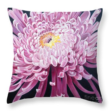 Throw Pillow featuring the painting Spider Mum by Debbie Hart
