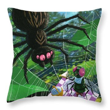Spider Picnic Throw Pillow