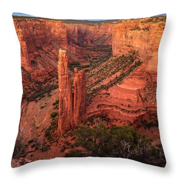 Throw Pillow featuring the photograph Spider Rock Sunset by Alan Vance Ley