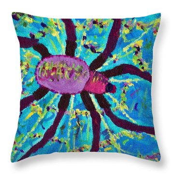 Throw Pillow featuring the painting Spider by Yshua The Painter