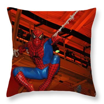 Spiderman Swinging Through The Air Throw Pillow