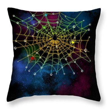 Spiderweb In The Universe Throw Pillow