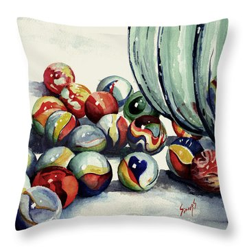 Spilled Marbles Throw Pillow by Sam Sidders