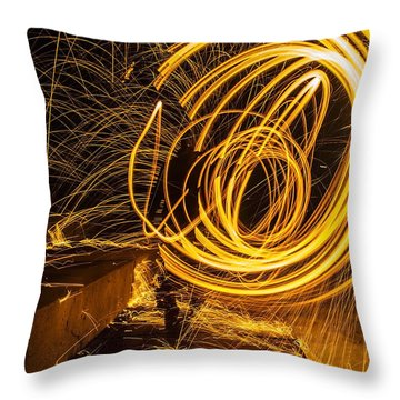 Spinning Sparking Light Painting Throw Pillow