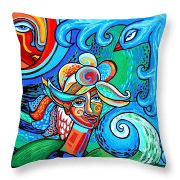 Spiral Bird Lady Throw Pillow by Genevieve Esson