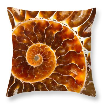 Spiral Center Of An Ammonite Fossil Throw Pillow