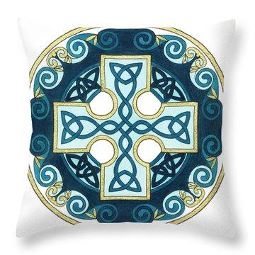Spiral Cross Throw Pillow by Cari Buziak
