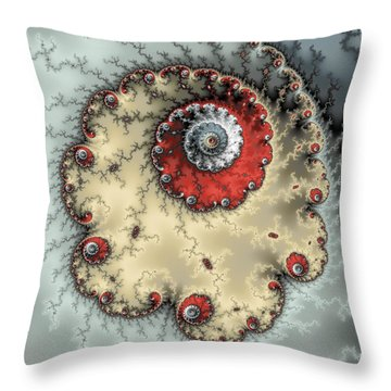 Spiral - Fractal Artwork In Yellow Gray And Red Throw Pillow by Matthias Hauser