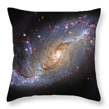 Spiral Galaxy Ngc 1672 Throw Pillow by Jennifer Rondinelli Reilly - Fine Art Photography