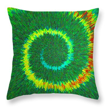 Throw Pillow featuring the painting Spiral Rainbow C2014 by Paul Ashby