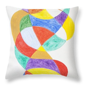 Throw Pillow featuring the painting Spiral Spacesuit by Stormm Bradshaw