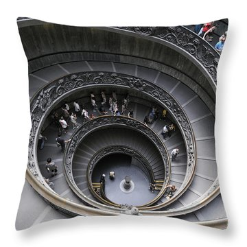 Spiral Staircase By Giuseppe Momo At The Vatican Museum. Rome. Italy Throw Pillow by Bernard Jaubert