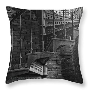 Spiral Staircase In B And W Throw Pillow