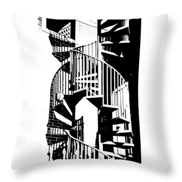 Spiral Stairs Throw Pillow by Darryl Dalton