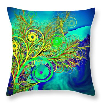 Spiral Tree With Blue Background Throw Pillow by GuoJun Pan